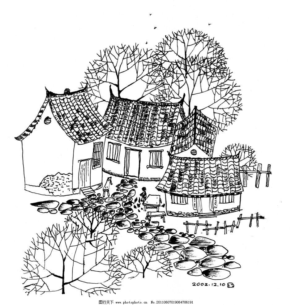 黑白手绘插画图片