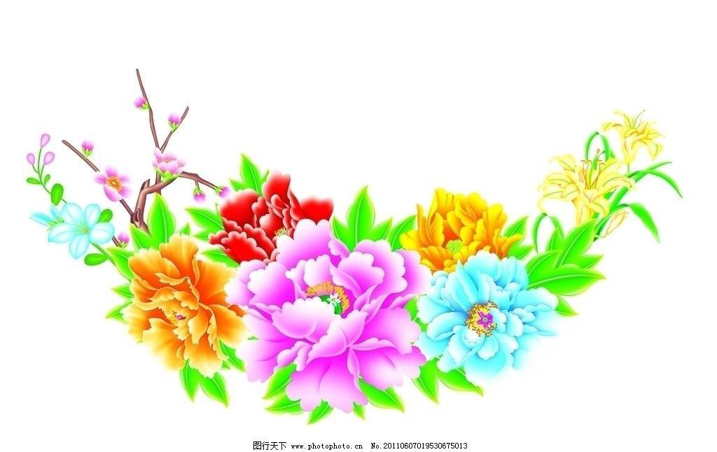 桃花 牡丹花 绿叶 树枝 花朵素材 节日素材 红色 黄色 绿色 蓝色 七彩