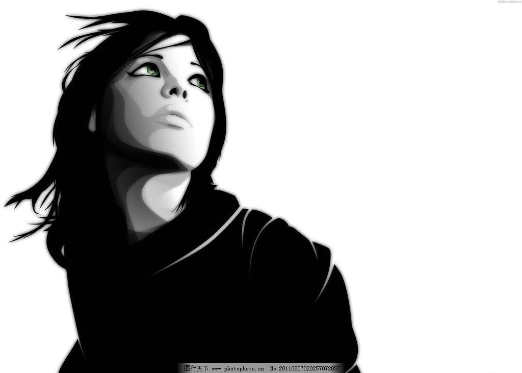 美女 黑白 冷酷 仰望 侧脸 背景底纹 底纹边框