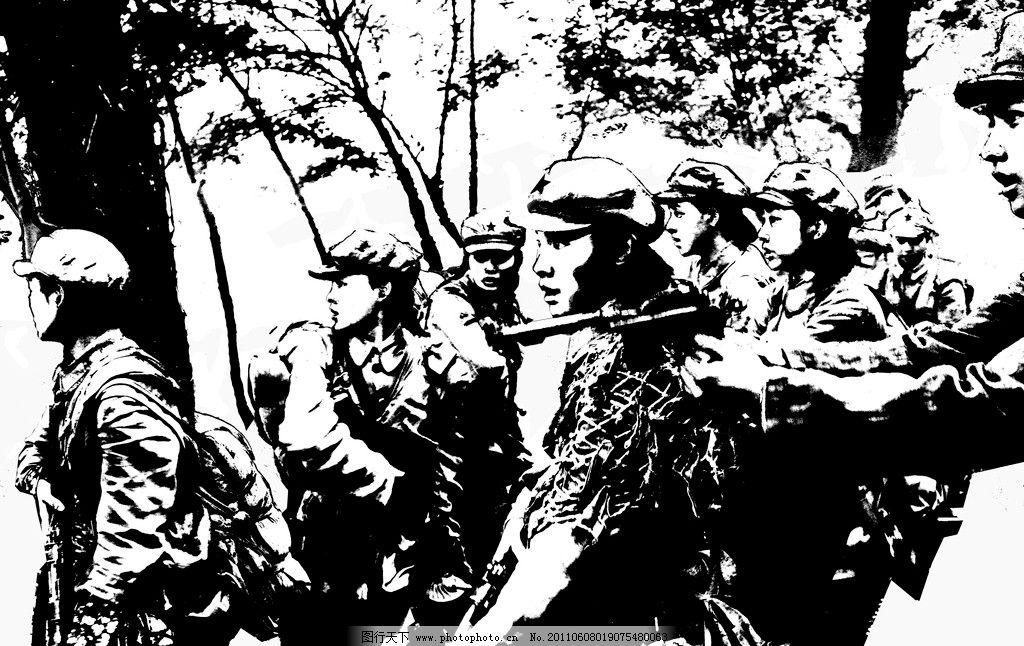 黑白插画 人物 战争 女军人 小人书 黑白漫画 剪影 绘画书法 文化艺术