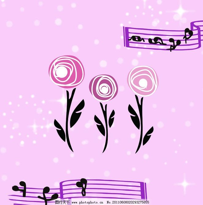 底图花纹 粉红色 矢量花 音符 抽象 可爱音符 模板 底纹背景