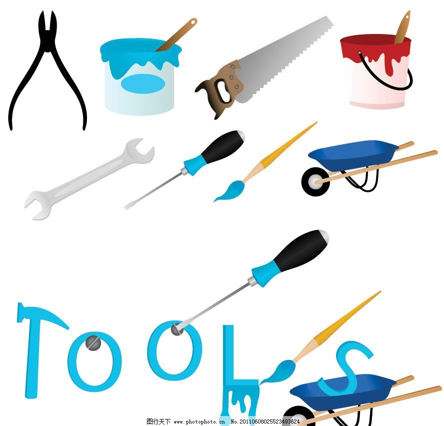 维修工具图标矢量 拉锯 钳子 锤子 推车 扳手 改锥 刷子 维修 工具
