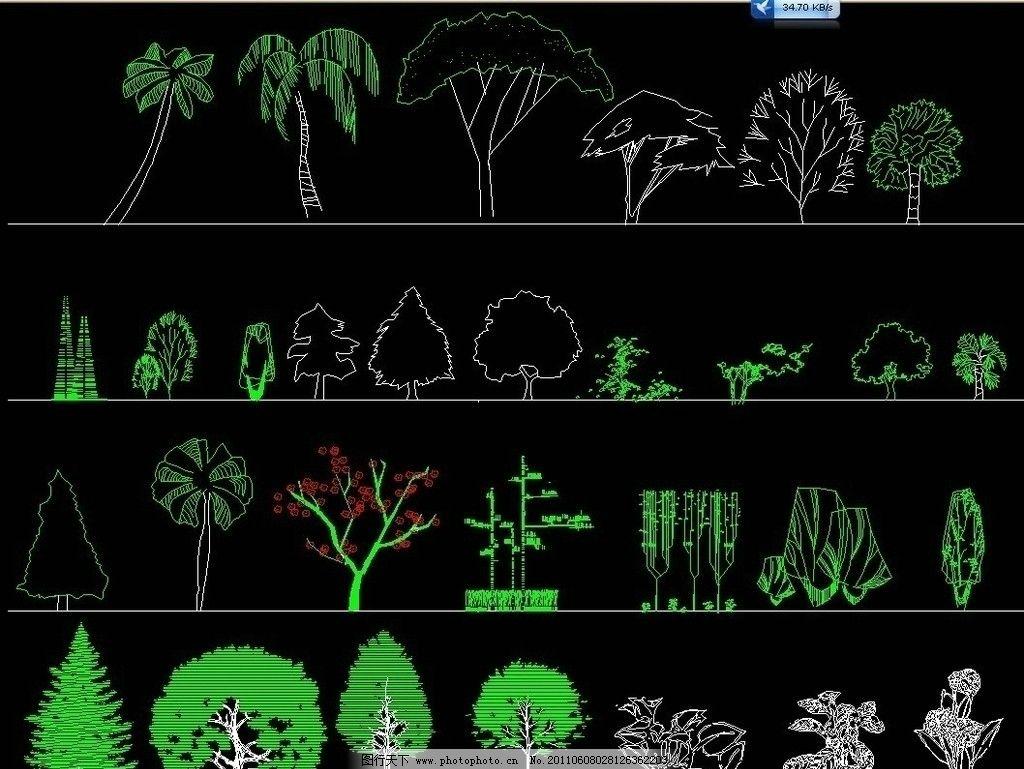 园林立面植物图例 cad dwg 图纸 平面图 素材 装修 装饰 施工图 立面