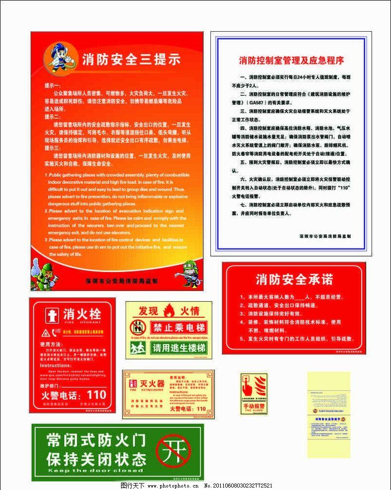 消防安全标识图 消防安全三提示 常闭式 防火门 消火栓 消防通道 使用