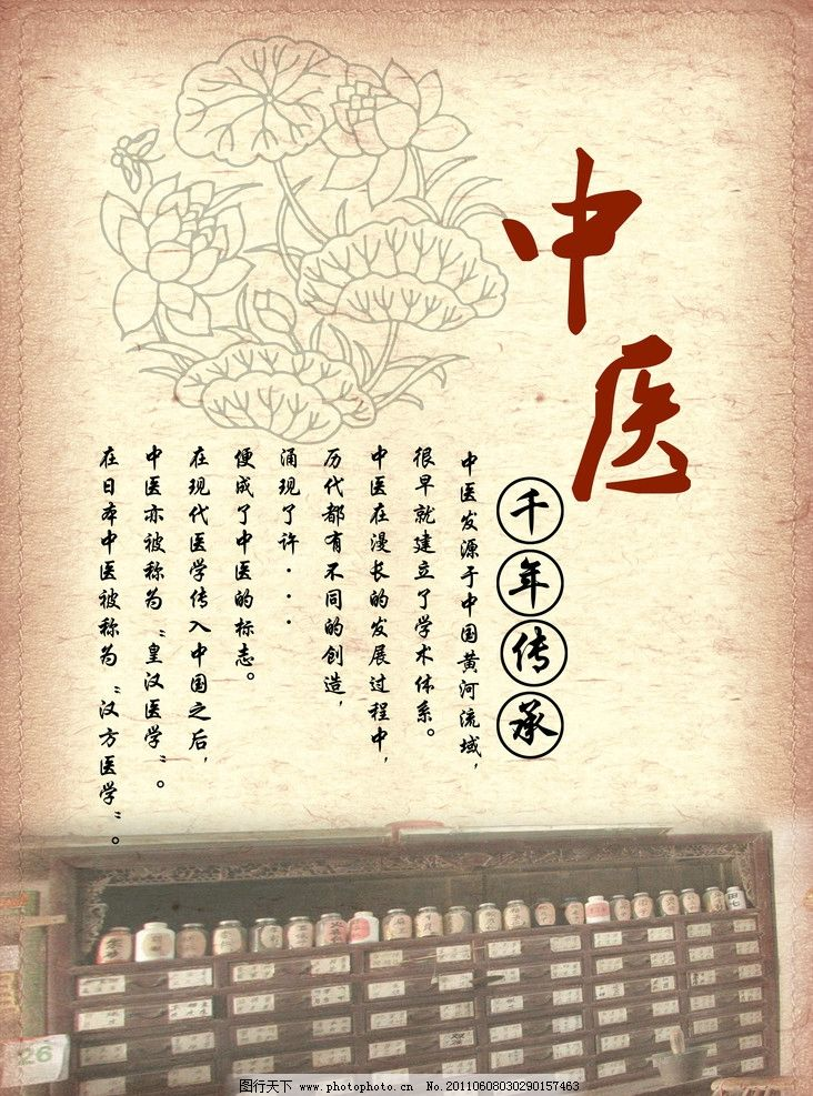 中医 花纹 药柜 千年文化 古典 背景 医院 展板模板 广告设计模板 源