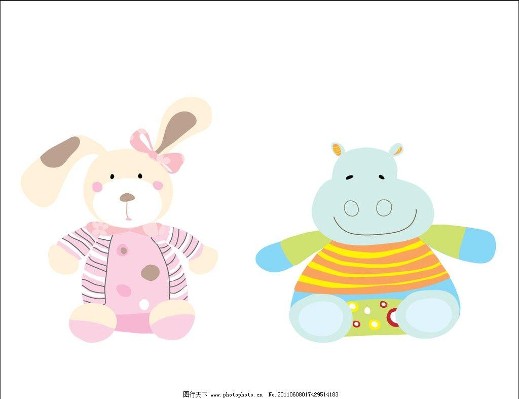 手绘插画 动物 卡通 创意儿童画 小兔子 河马 其他生物 生物世界 矢量