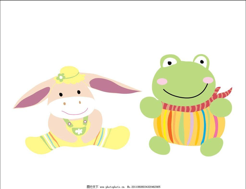 手绘插画 动物 卡通 创意儿童画 小驴子 小青蛙 其他生物 生物世界