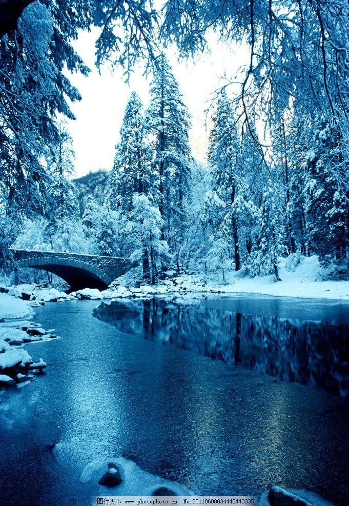 冰河时代 雪景 黑白 冰窟 风景 自然风景 自然景观 冰雕 松树
