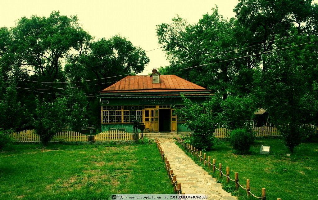 别墅 小径 小路 草地 房子 树木 建筑景观 自然景观 摄影 180dpi jpg