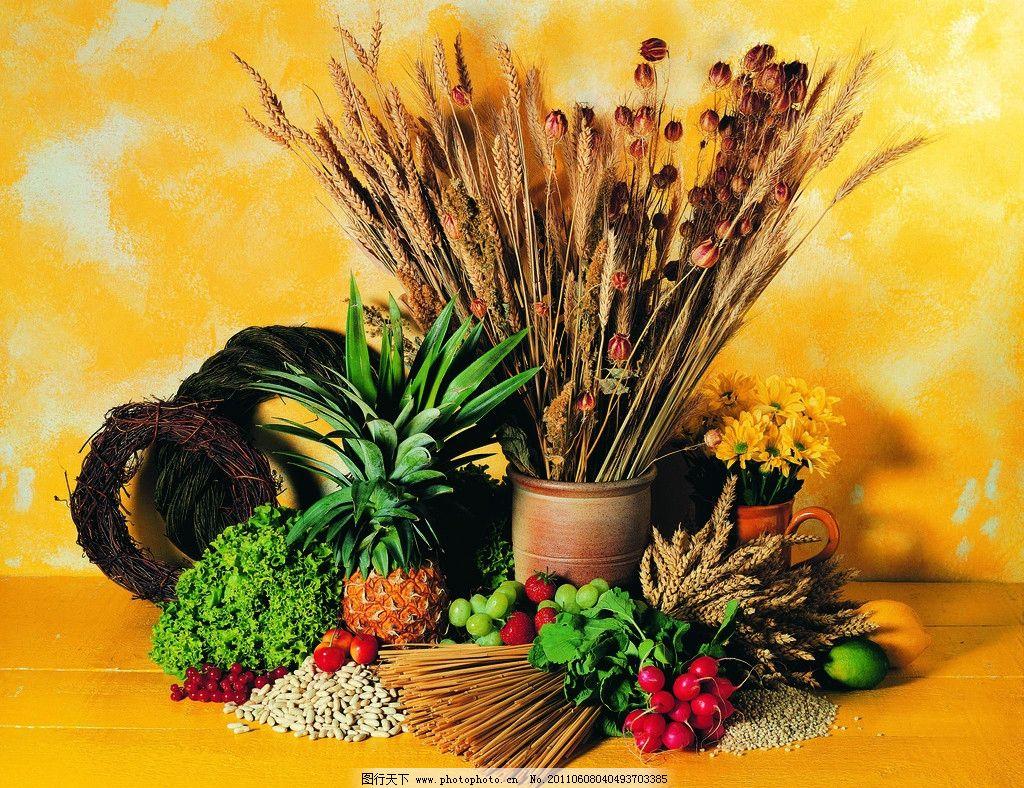食物原料 原料 食物 美食 餐饮 菠萝 樱桃 水果 水果静物 水果油画