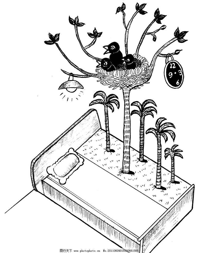 手绘漫画插图黑白 椰树 床 鸟窝 手工漫画插图黑白 动漫人物 动漫动画