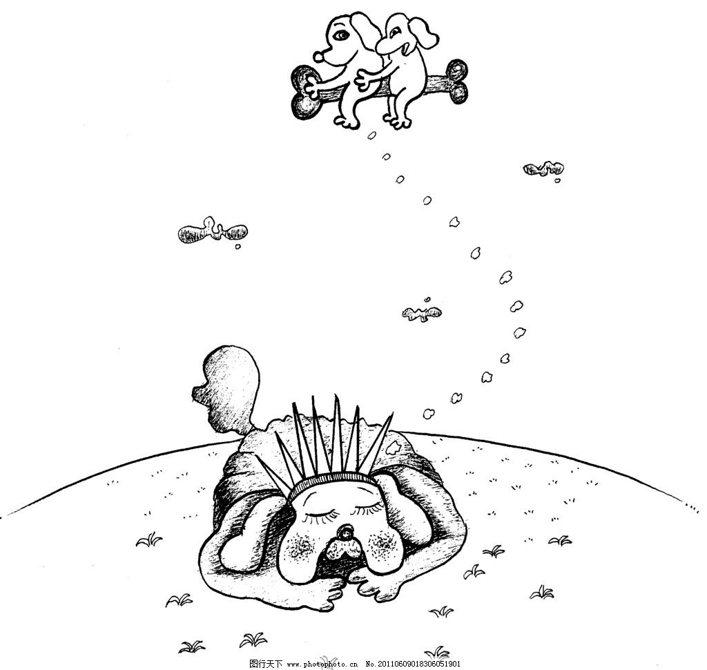 手绘漫画插图黑白 狗 骨头