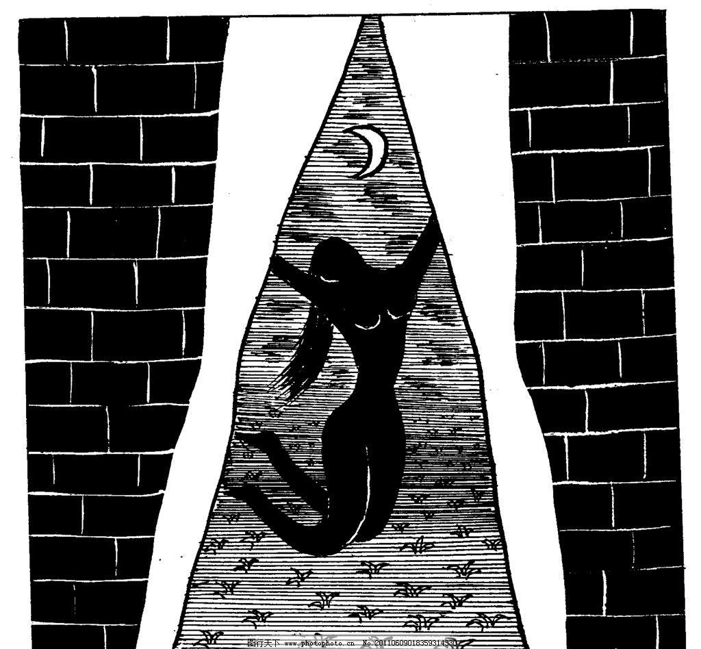 手绘漫画插图黑白 月亮