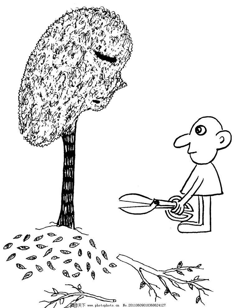 手绘漫画插图黑白 树木