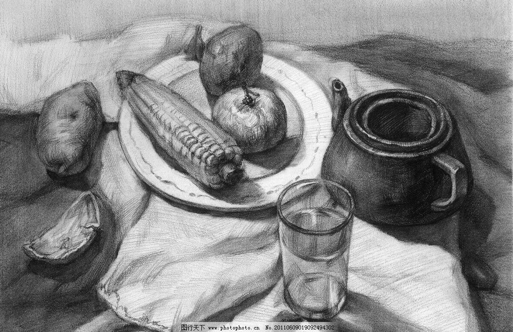 静物素描 玻璃杯 茶壶 水果 素描 灰色图 静物 绘画书法 文化艺术