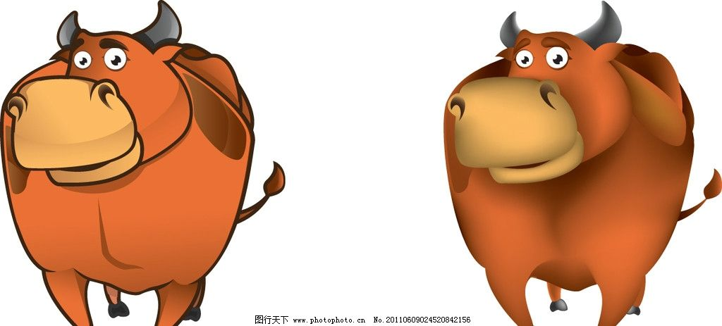 可爱小动物 卡通动物 动物图标 牛 奶牛 小牛 黄牛 动物主题