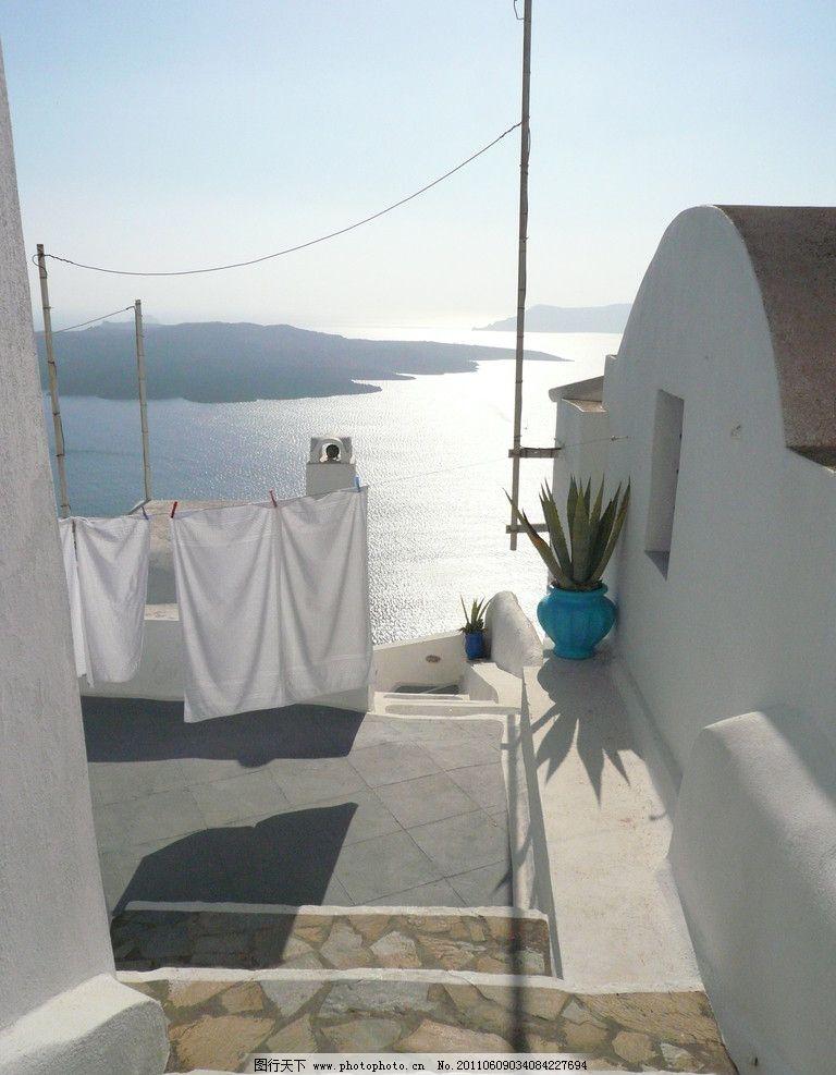 希腊 小镇 白色建筑 白色床单 蓝色花瓶 爱琴海 国外旅游 摄影