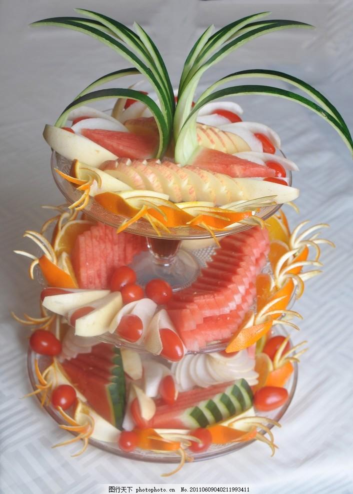 水果拼盘 苹果 西瓜 橙子 圣女果 香橙 菠萝 梨子 摄影素材