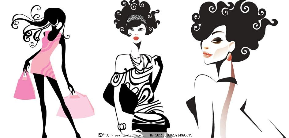 手绘时尚女孩女郎 手绘 时尚 潮流 女孩剪影 女人剪影 模特 女孩 美女