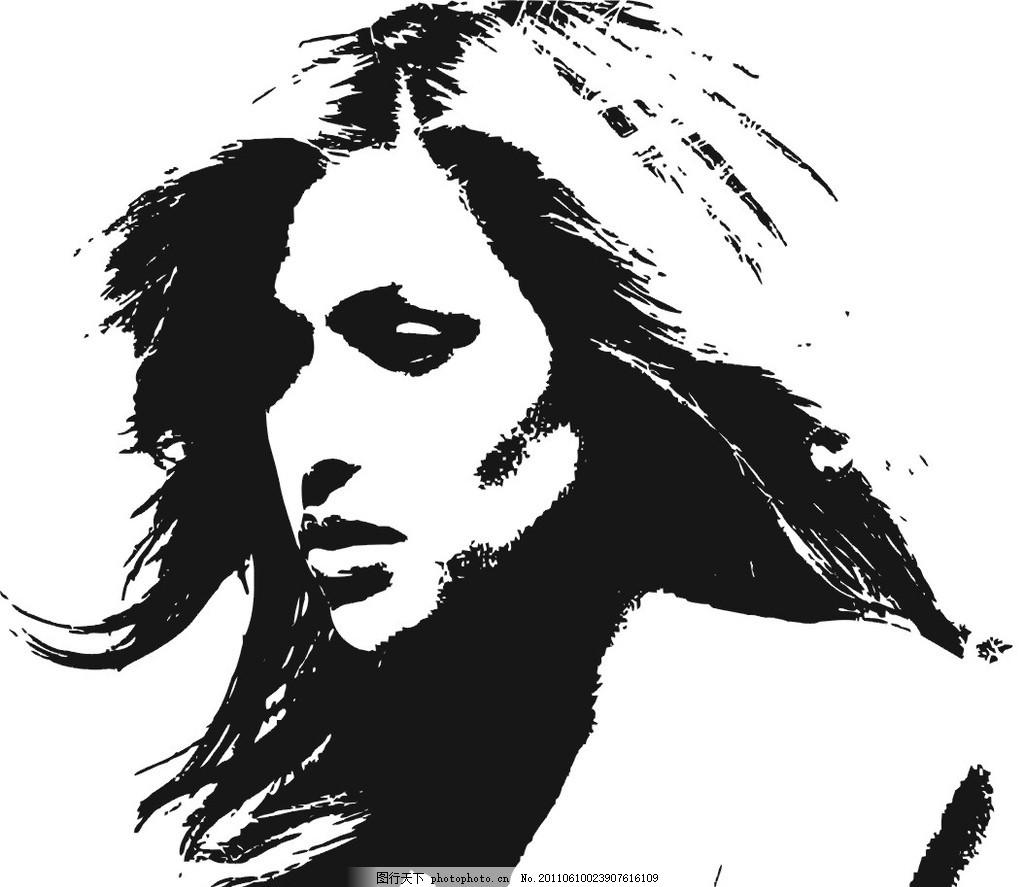美女 矢量图 黑白 素描 欧美 外国妞 扣图 壁画图