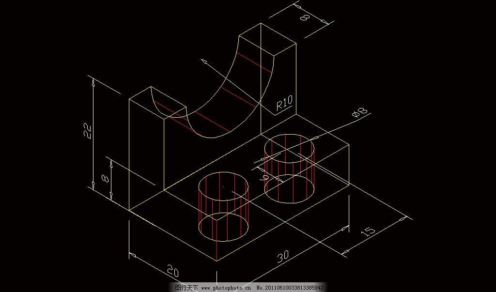 cad 图纸 平面图 素材 立面图 剖面图 螺丝 螺杆 螺帽 三视图 轴零件