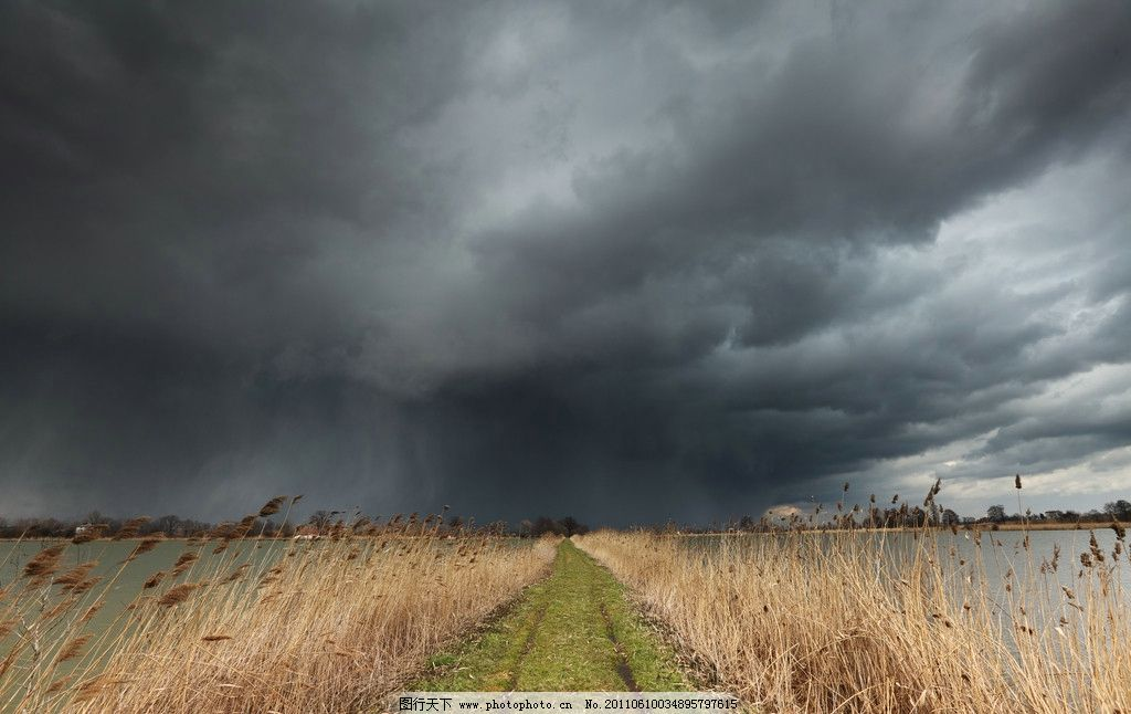 草丛 公路 乌云密布/乌云密布下的草丛公路图片