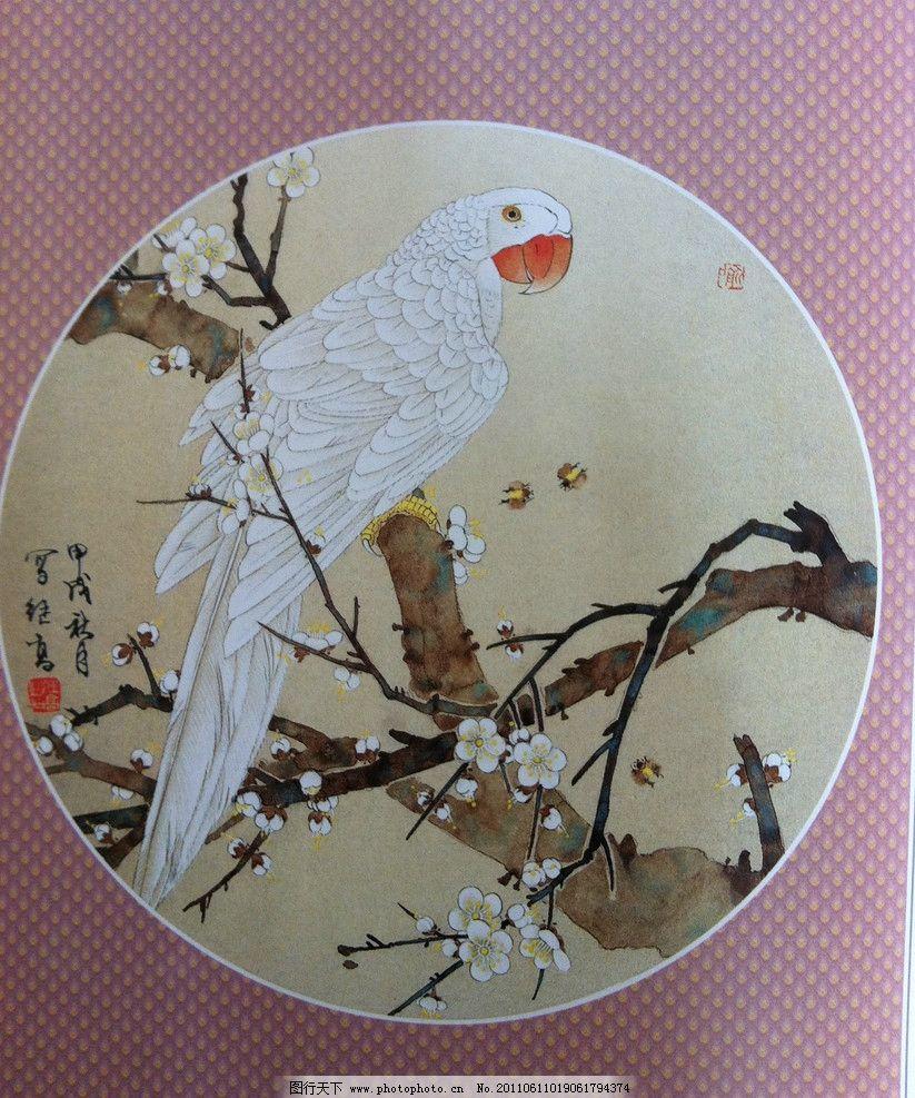工笔 花鸟 工笔花鸟 国画 装饰画 工笔梅花 工笔鹦鹉 鹦鹉 绘画书法