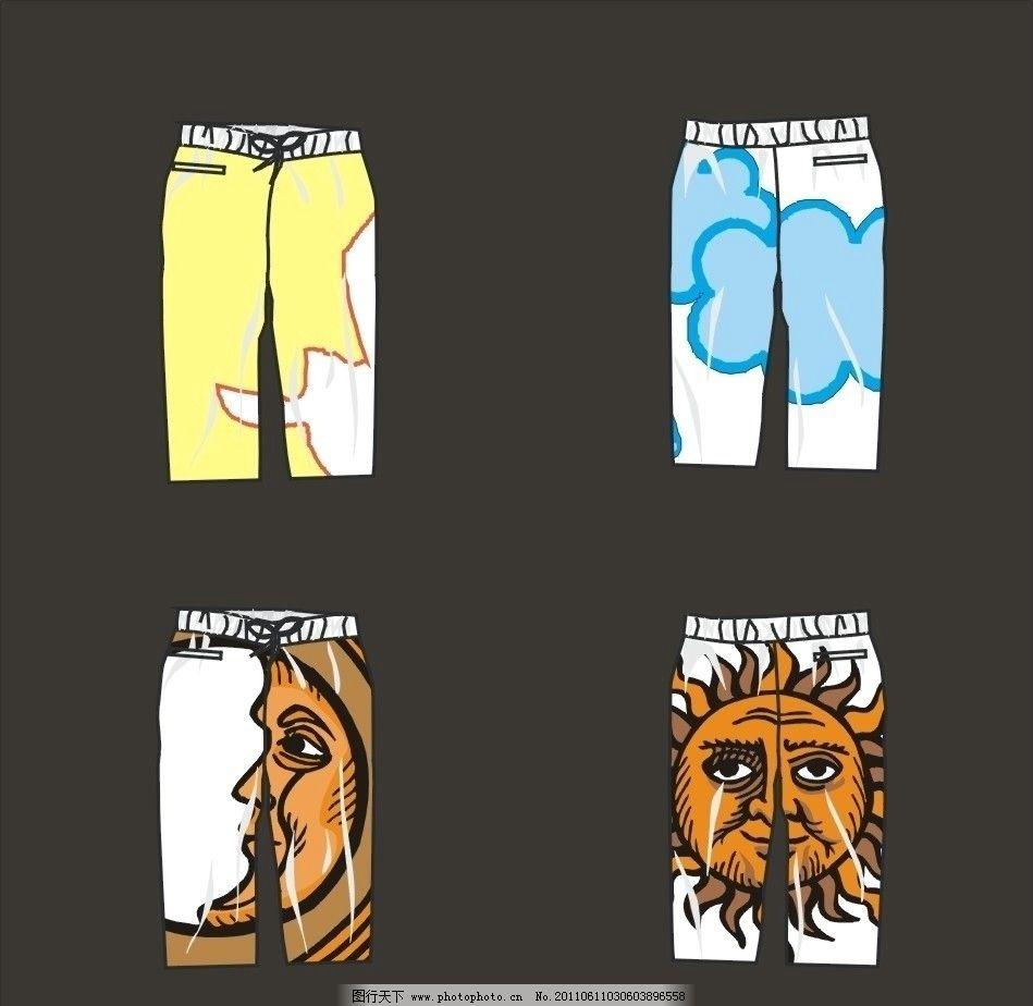 裤子 下装 短裤 裤 绳带 泡浆印 流行裤子 时尚裤子 创意 广告设计