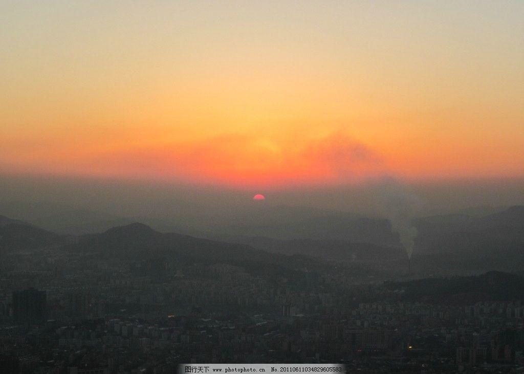 黄昏 日落 傍晚 风景 雪色 城市 美景 郴州 王仙岭 苏仙岭 山上 蒙蒙