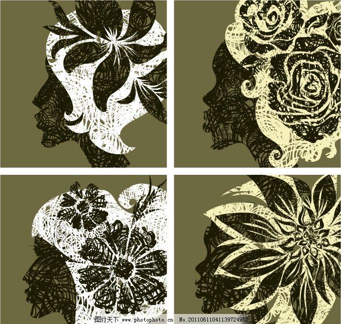 女孩头发用鲜花 头花 花纹 花卉 女性 少女头部 头饰 饰品 矢量
