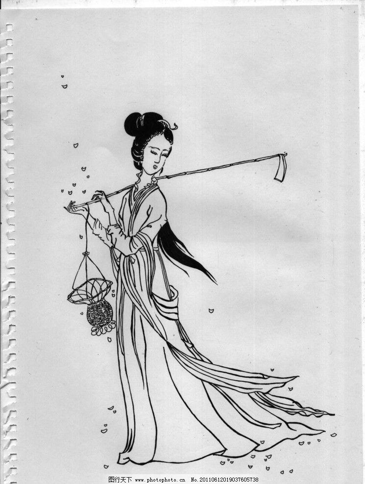 黛玉葬花手绘图片