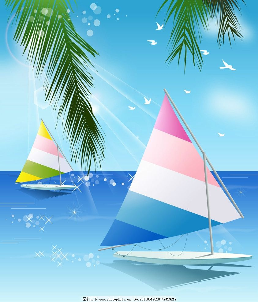 夏日风情 移门 卡通风景 夏天 大海 沙滩 海鸥 椰树 帆船 阳光 星光