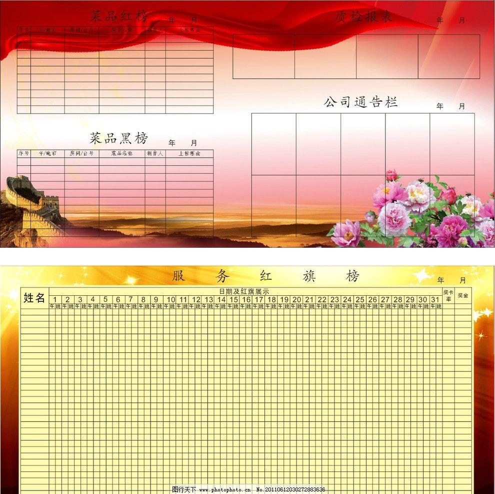 酒店形象墙 展板 服务红旗榜 质检日报 菜品红榜 菜品黑榜 飘带 花图片