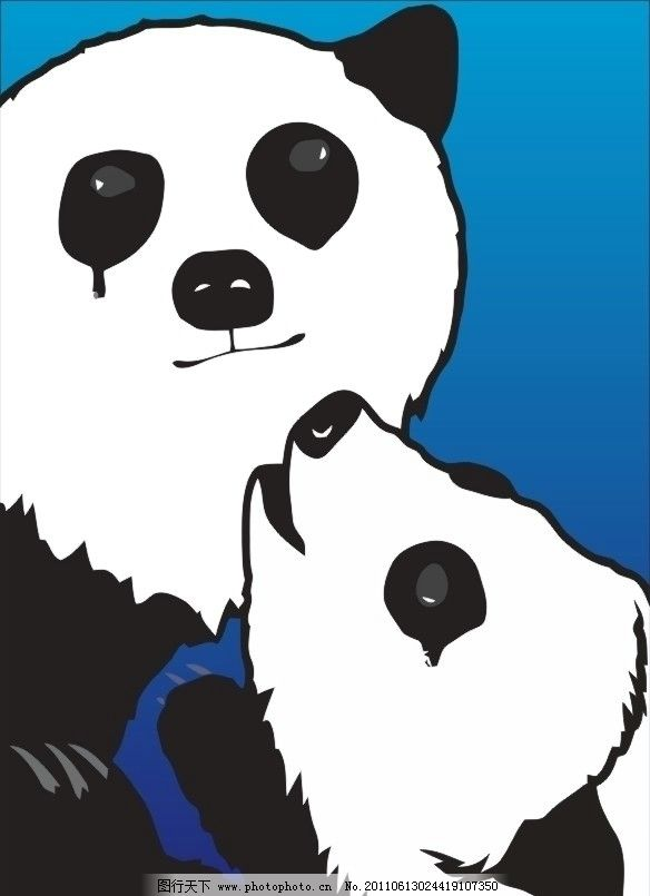 卡通 图案 卡通熊猫 黑白熊猫 熊猫宝宝 野生动物 生物世界 矢量 cdr