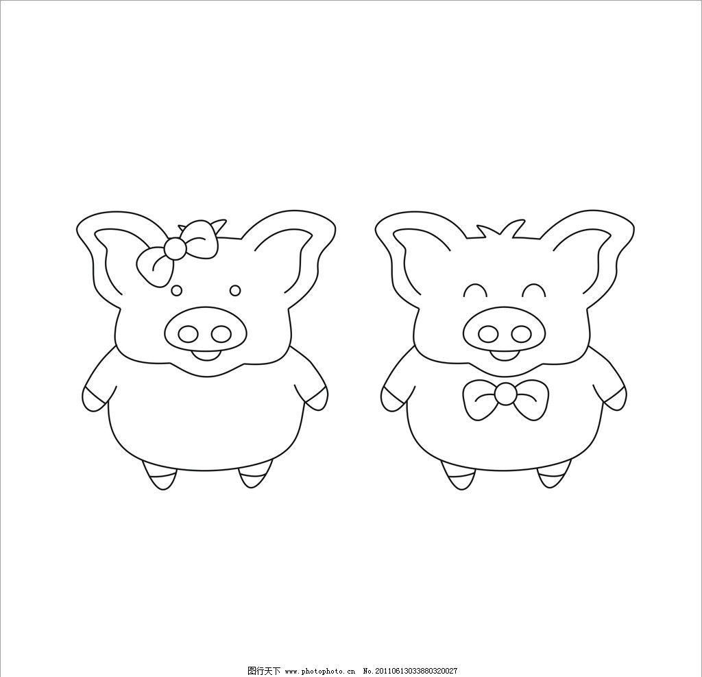画猪头的简笔画步骤