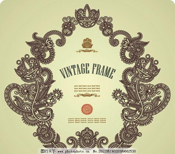 欧式花纹边框 花边 华丽 相框 古典 传统 底纹 请柬 邀请 贺卡