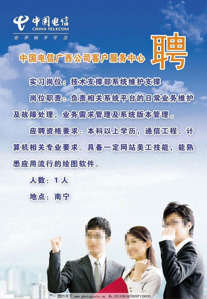 中国电信招聘海报图片