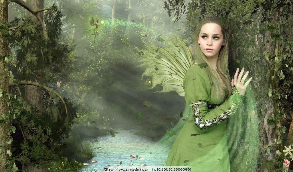 绿色精灵 精灵 森林 绿色 翅膀 动漫人物 动漫动画 设计 1000dpi jpg