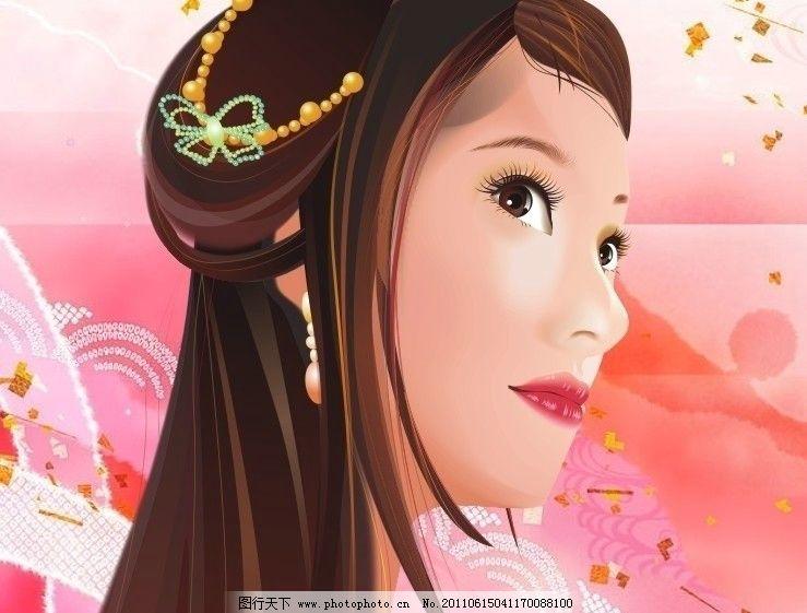 仿古典美女 头像 头饰 侧面 耳环 长发 妇女女性 矢量人物 矢量