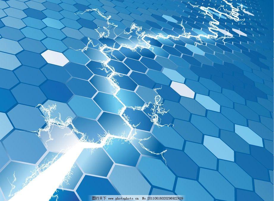 3d蓝色动感线条六边形 商务科技背景图片
