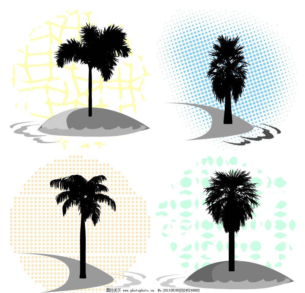 夏日椰子树剪影 椰子树 夏日 沙滩 植物 剪影 矢量 植物主题 树木树叶