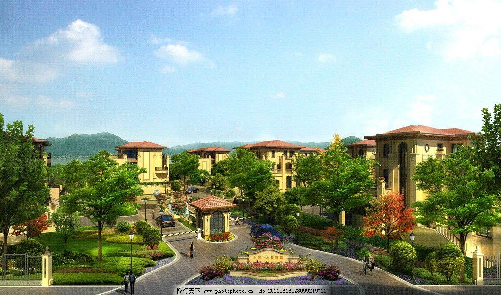 高档排屋 高档别墅 别墅 小区 建筑设计 景观设计 欧式风格 小区全景