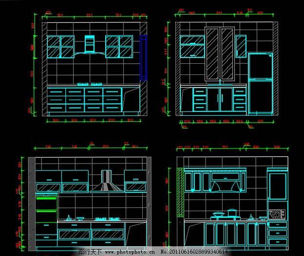 厨房摆设 厨房装修 厨房施工图 cad装修素材 cad cad源文件 cad平面图
