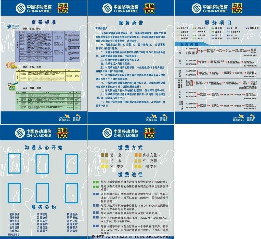 移动公司标牌 移动 10086 全球通 矢量 人物 移动蓝 沟通100 展板模板