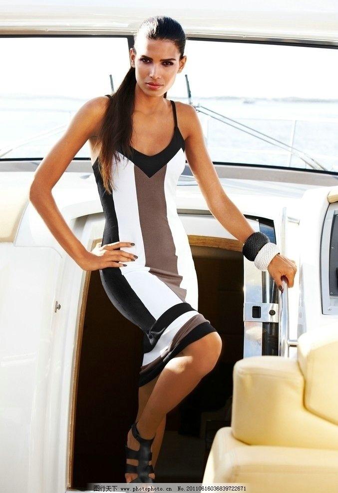 时尚模特 时装 美女 游艇 女性女人 人物图库 摄影