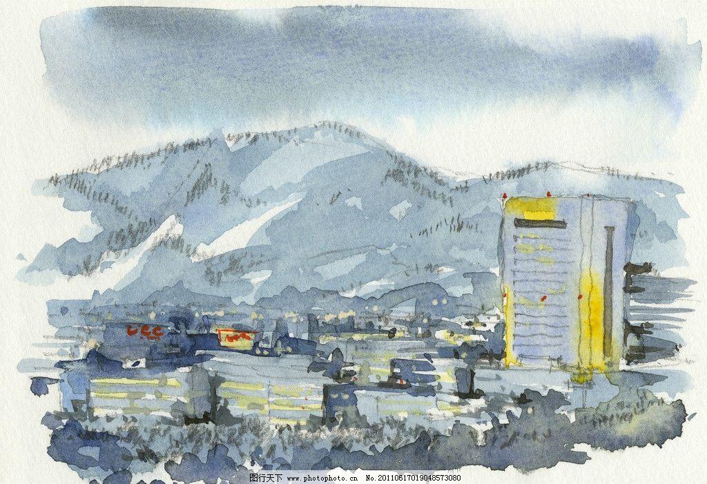 水粉风景素描 绘画 水粉画 城市 建筑 特写 速写 艺术 绘画书法