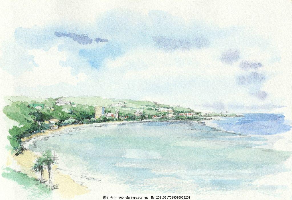水粉风景素描 绘画 水粉画 静物素描 风景 海滩风景 自然风景 特写