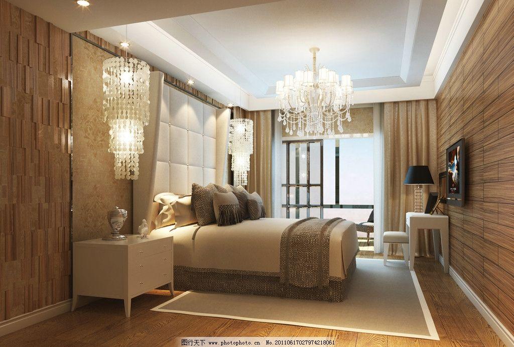 主卧        室内设计 水晶吊灯 木质墙壁 环境设计 设计 300dpi jpg