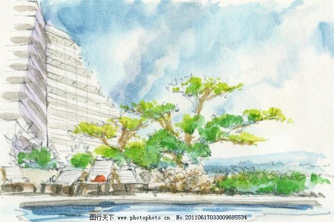 水粉建筑素描 风景 海滩风景 绘画 绘画书法 静物素描 水粉画