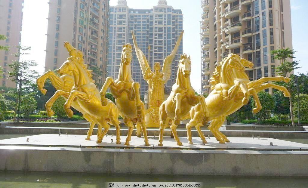 欧式洋房雕塑图片素材下载 欧式洋房雕塑 欧式小区 欧式洋房 金色雕塑